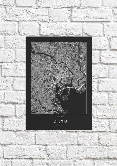 Tokió úthálózata poszteren - sötét-1