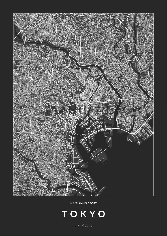 Tokió úthálózata poszteren - sötét