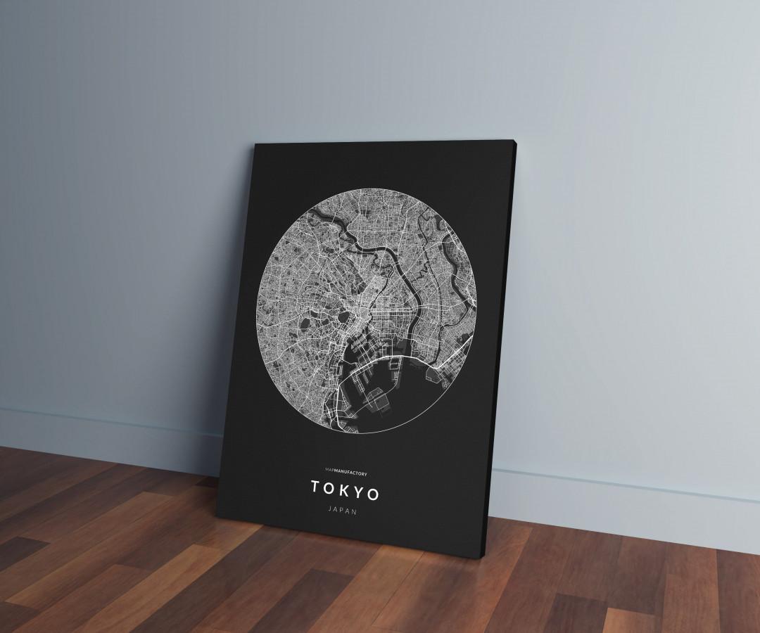 Tokió úthálózata körben vászonképen - sötét
