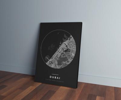 Dubai úthálózata körben vászonképen - sötét