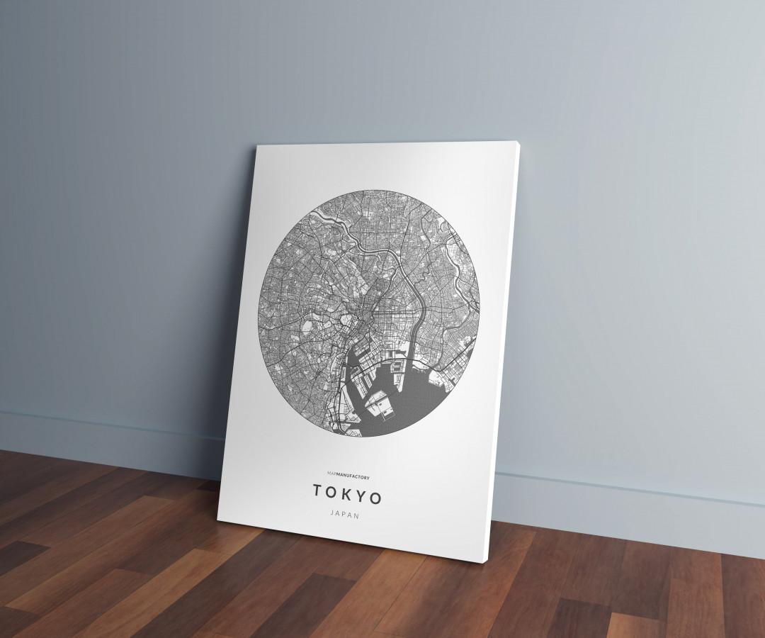 Tokió úthálózata körben vászonképen - világos