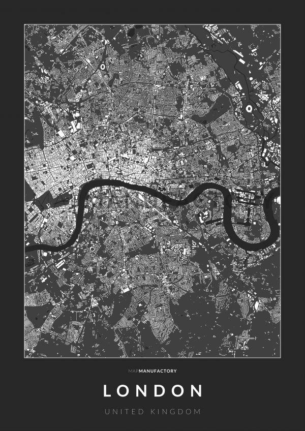 London épületei poszteren - sötét