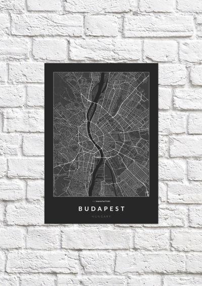 Budapest úthálózata poszteren - sötét-1