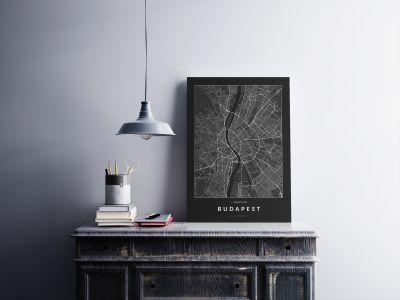 Budapest úthálózata poszteren - sötét-2