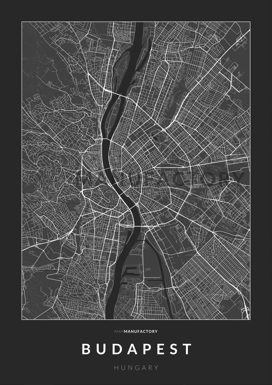 Budapest úthálózata poszteren - sötét