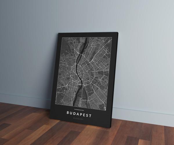 Budapest úthálózata vászonképen - sötét