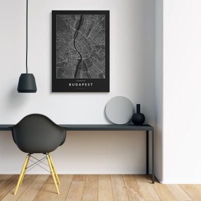 Budapest úthálózata vászonképen - sötét-1