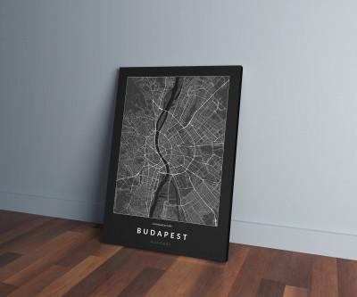 Budapest úthálózata vászonképen - sötét-0