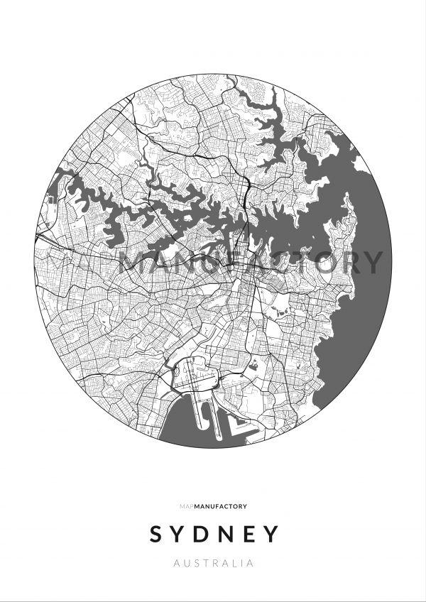 Sydney úthálózata körben poszteren - világos