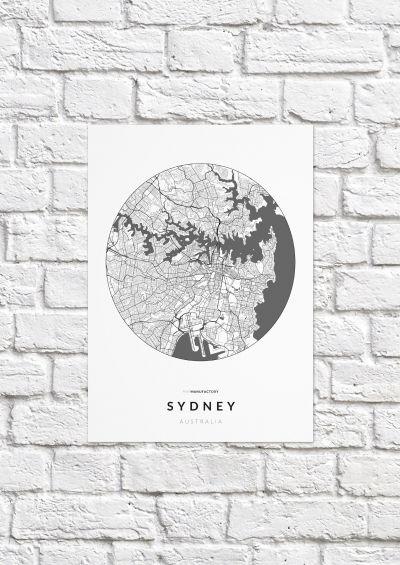 Sydney úthálózata körben poszteren - világos-1
