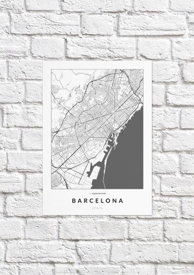 Barcelona úthálózata poszteren - világos-1