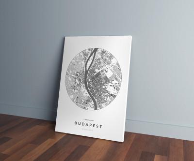 Budapest épületei körben vászonképen - világos-0