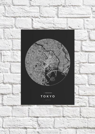 Tokió úthálózata körben poszteren - sötét-1