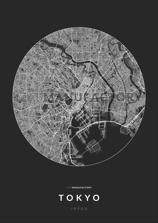 Tokió úthálózata körben poszteren - sötét