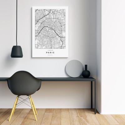 Párizs úthálózata vászonképen - világos-1