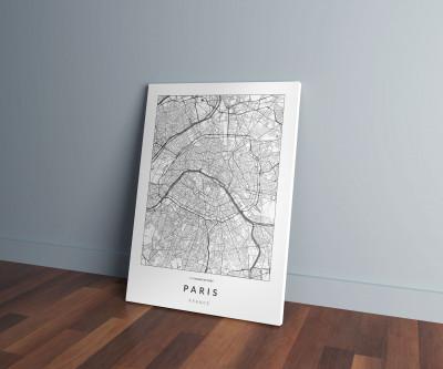 Párizs úthálózata vászonképen - világos