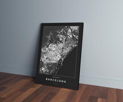 Barcelona épületei vászonképen - sötét-0