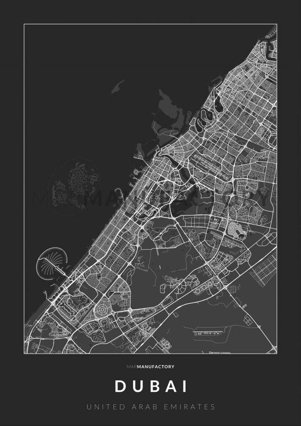 Dubai úthálózata poszteren - sötét
