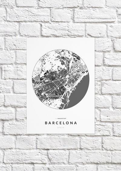 Barcelona épületei körben poszteren - világos-1