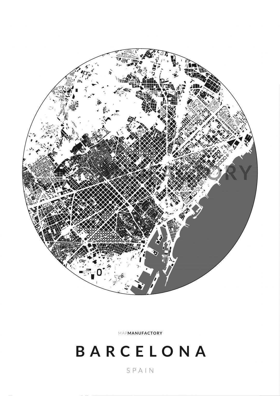 Barcelona épületei körben poszteren - világos