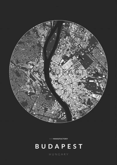 Budapest épületei körben poszteren - sötét