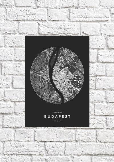 Budapest épületei körben poszteren - sötét-1