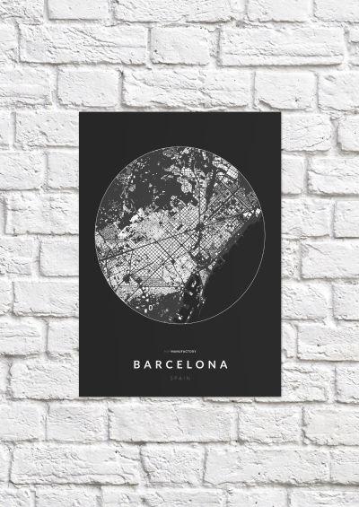 Barcelona épületei körben poszteren - sötét-1