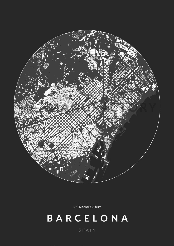 Barcelona épületei körben poszteren - sötét