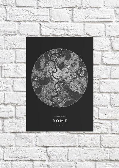 Róma épületei körben poszteren - sötét-1