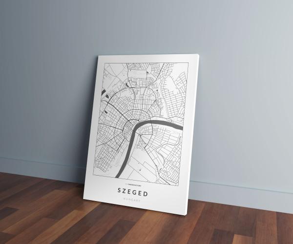 Szeged úthálózata vászonképen - világos