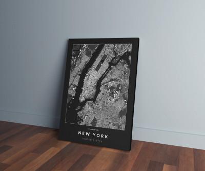New York épületei vászonképen - sötét-0