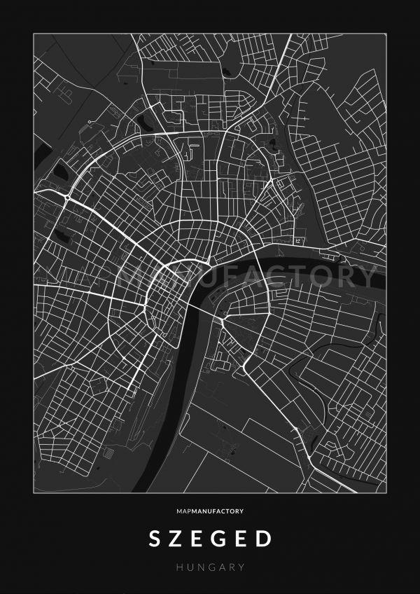 Szeged úthálózata poszteren - sötét