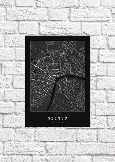 Szeged úthálózata poszteren - sötét-1