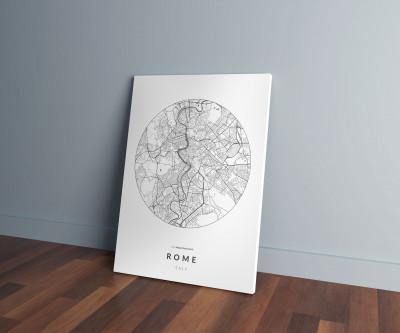 Róma úthálózata körben vászonképen - világos