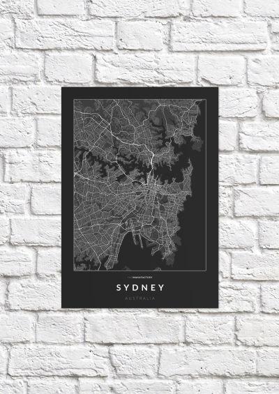 Sydney úthálózata poszteren - sötét-1