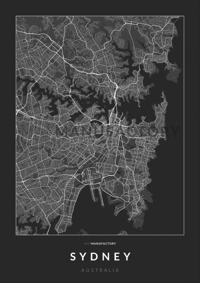 Sydney úthálózata poszteren - sötét