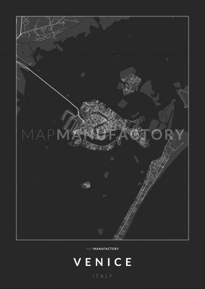 Velence úthálózata poszteren - sötét