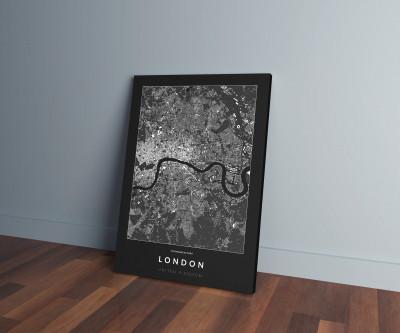 London épületei vászonképen - sötét