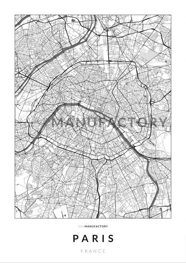 Párizs úthálózata poszteren - világos