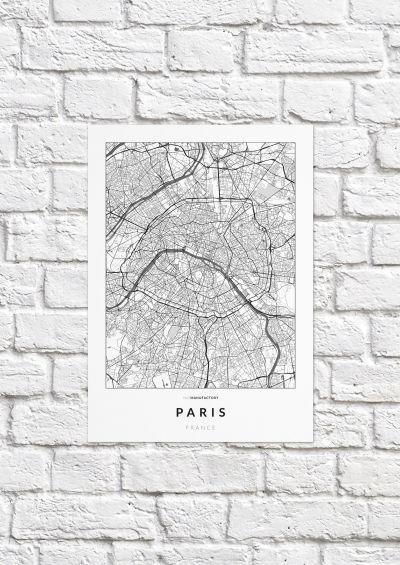 Párizs úthálózata poszteren - világos-1