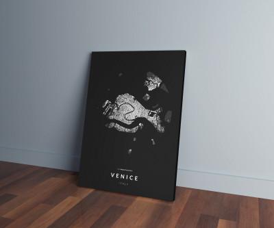 Velence épületei közelről vászonképen - sötét
