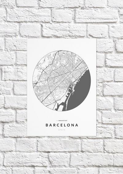 Barcelona úthálózata körben poszteren - világos-1
