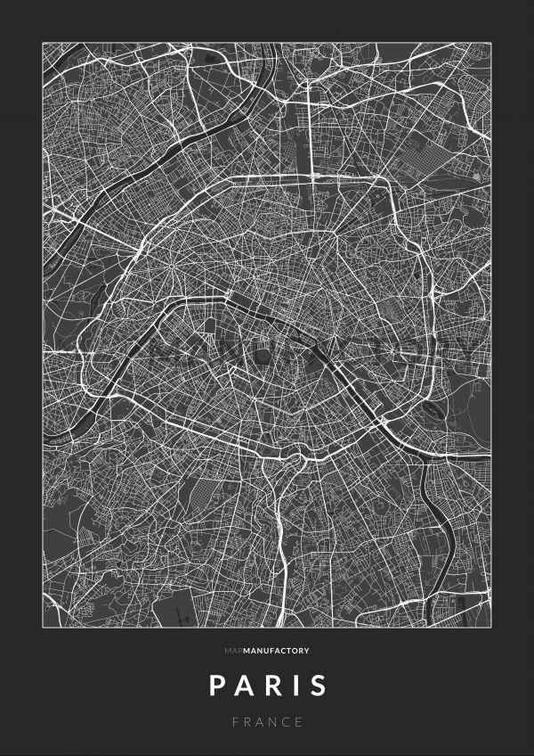 Párizs úthálózata poszteren - sötét