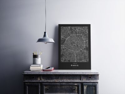 Párizs úthálózata poszteren - sötét-2