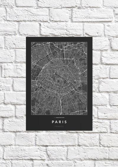 Párizs úthálózata poszteren - sötét-1