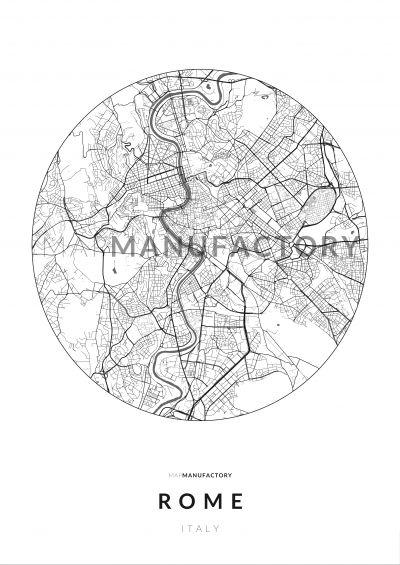 Róma úthálózata körben poszteren - világos