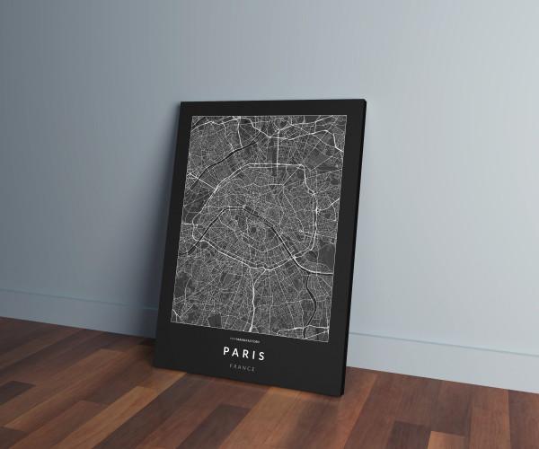 Párizs úthálózata vászonképen - sötét