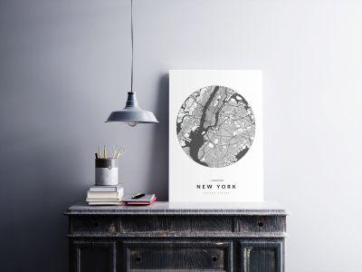 New York úthálózata körben poszteren - világos-2