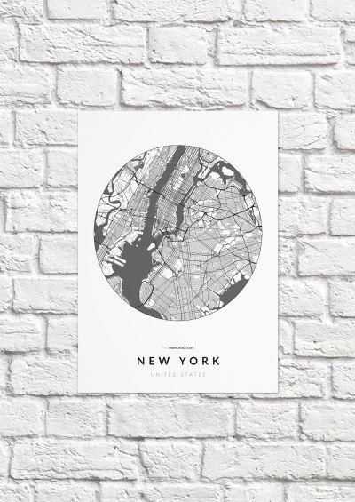 New York úthálózata körben poszteren - világos-1