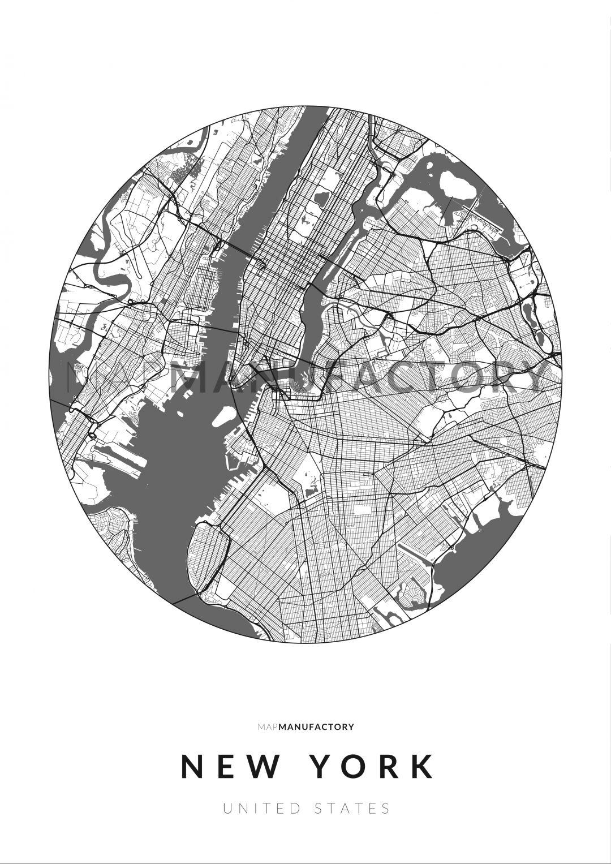 New York úthálózata körben poszteren - világos